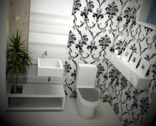 lavabo com papel parede preto