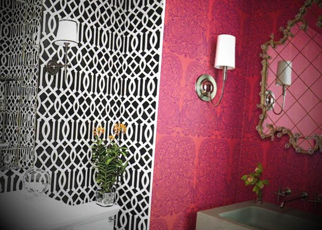 lavado decorado com papel de parede