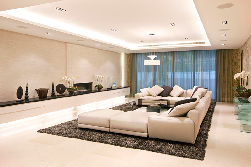 luxury living room with modern lighting