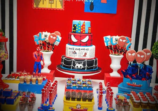 mesa-decorada-festa-spiderman