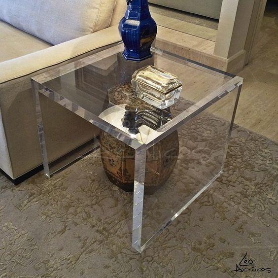 moveis acrilico decoracao sala mesa apoio