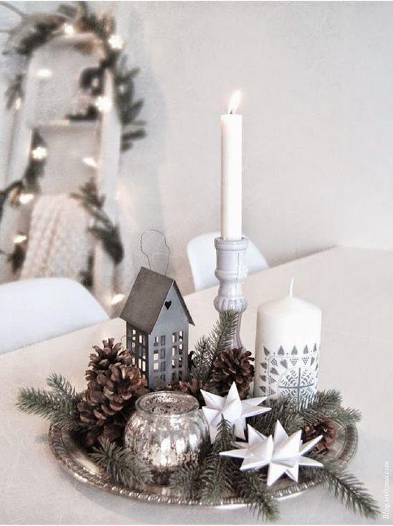 ornamentos natal decoracao centro mesa