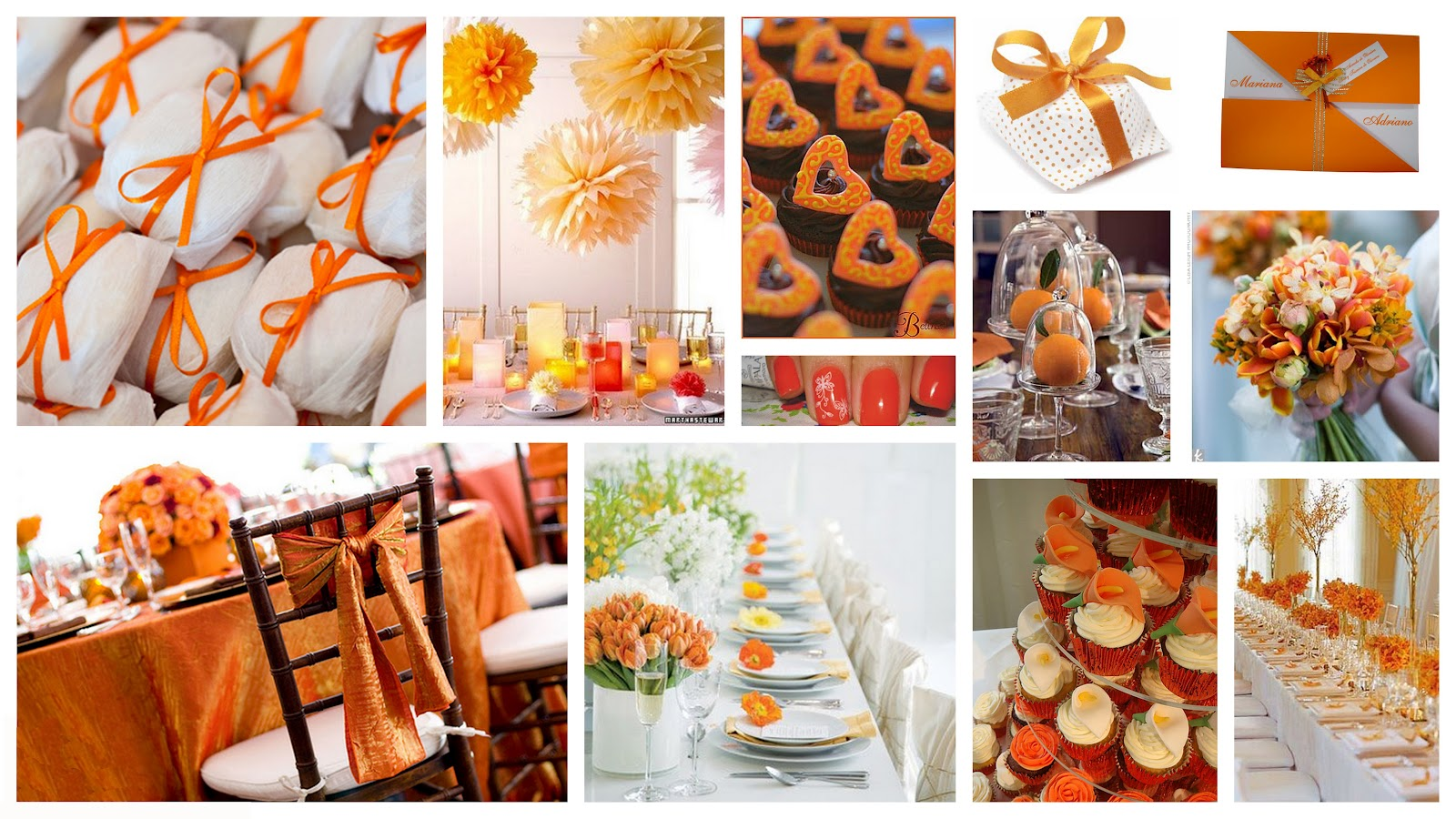 paleta de cores casamento laranja