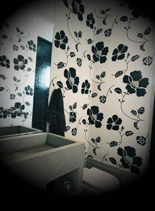 papel floral preto branco
