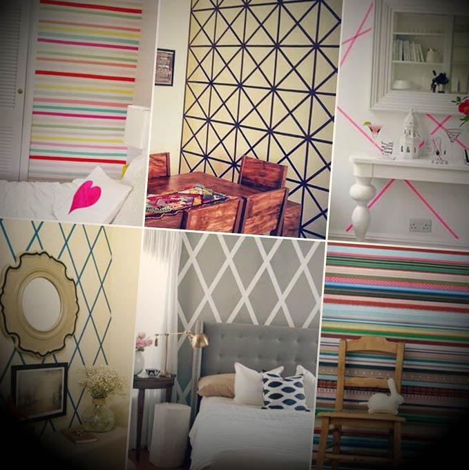 Como decorar parede com fita adesiva # Decorar Parede Com Fita Adesiva