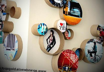parede decorada com reciclagem