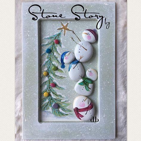 pedras decoradas pintadas natal boneco neve