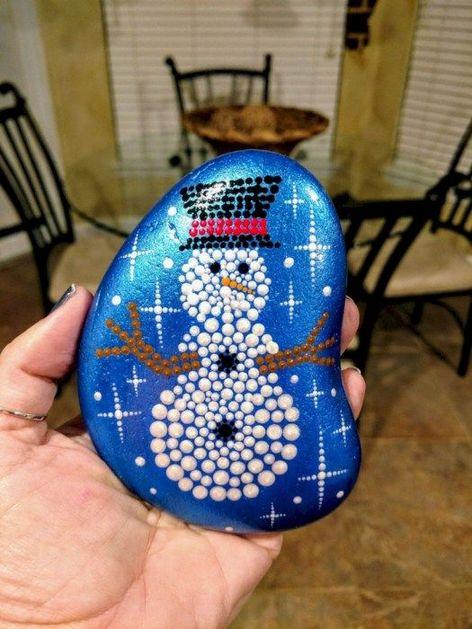pedras decoradas pintadas natal brilho