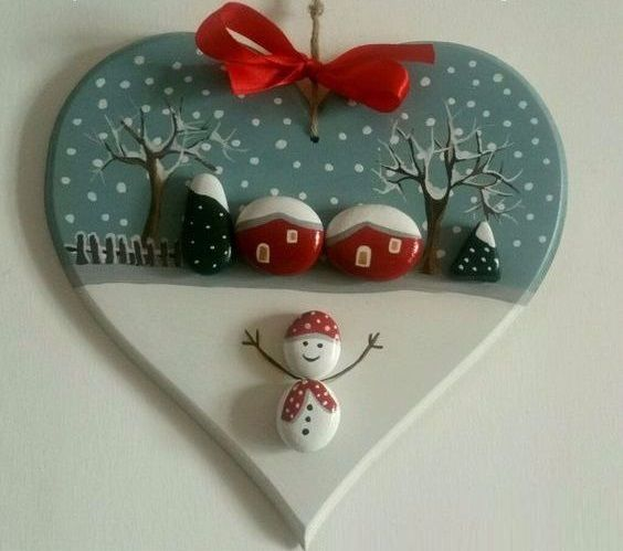 pedras decoradas pintadas natal coracao
