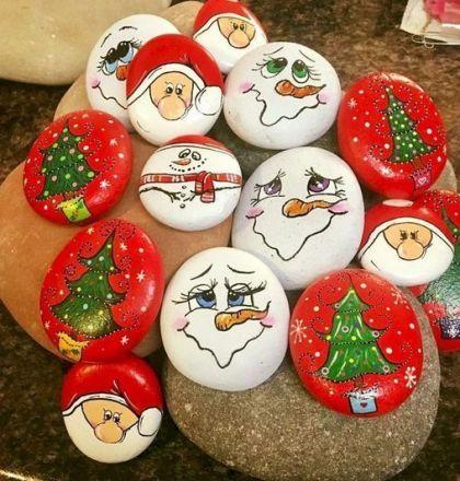 pedras decoradas pintadas natal papai noel