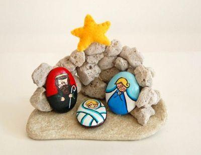pedras decoradas pintadas natal presepio