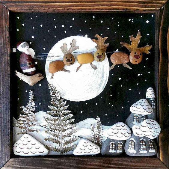 pedras decoradas pintadas natal quadrinho