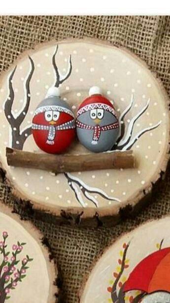 pedras decoradas pintadas natal quadro