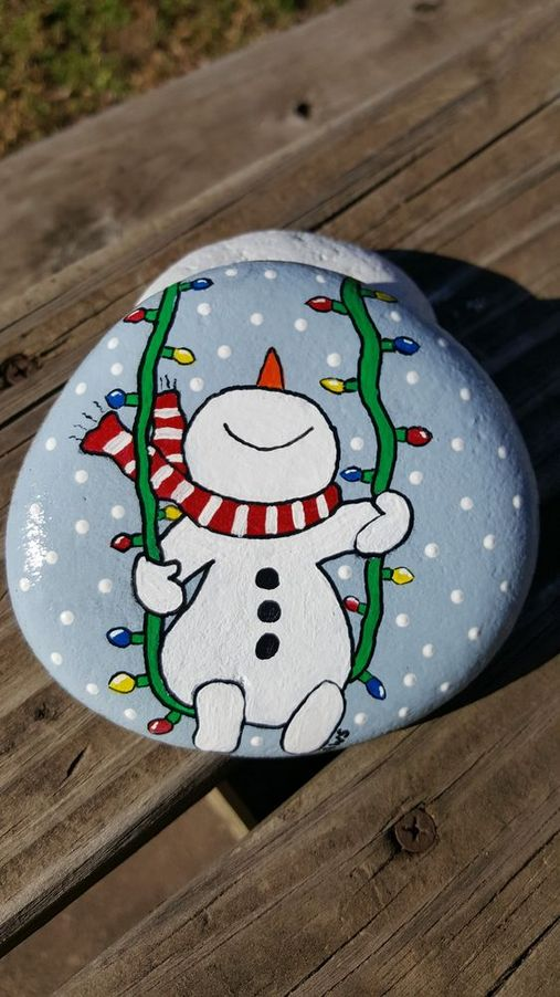 pedras decoradas pintadas natal simples