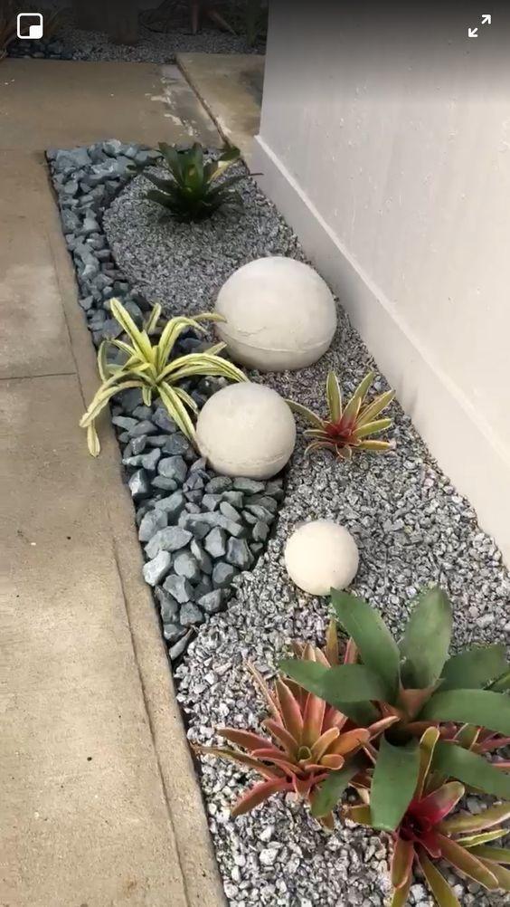 pedras decorativas jardim canteiro