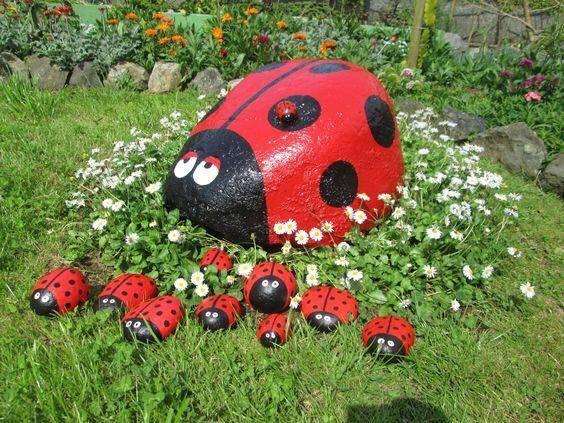 pedras decorativas jardim pintadas