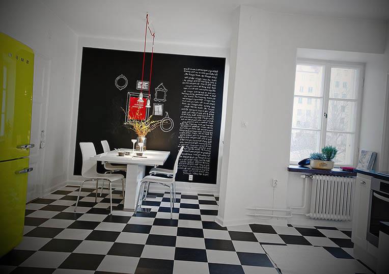 piso cozinha preto e branco