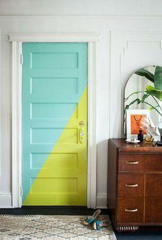 porta fachada colorida bicolor