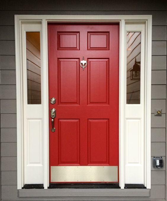 porta fachada colorida vermelha