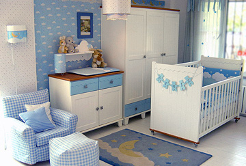 quarto azul decorado bebe
