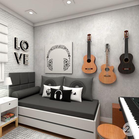 quarto com decoracao de rock