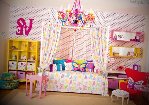 quarto infantil feminino bolinhas coloridas