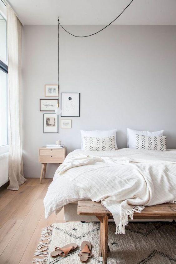 quarto minimalista casal branco