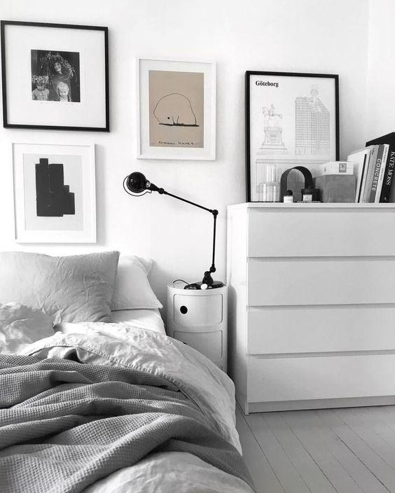 quarto minimalista cinza masculino