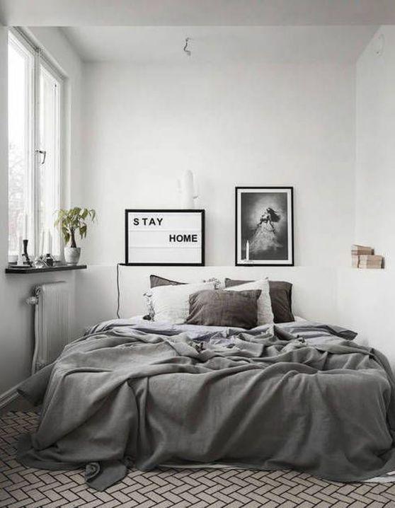 quarto minimalista cinza