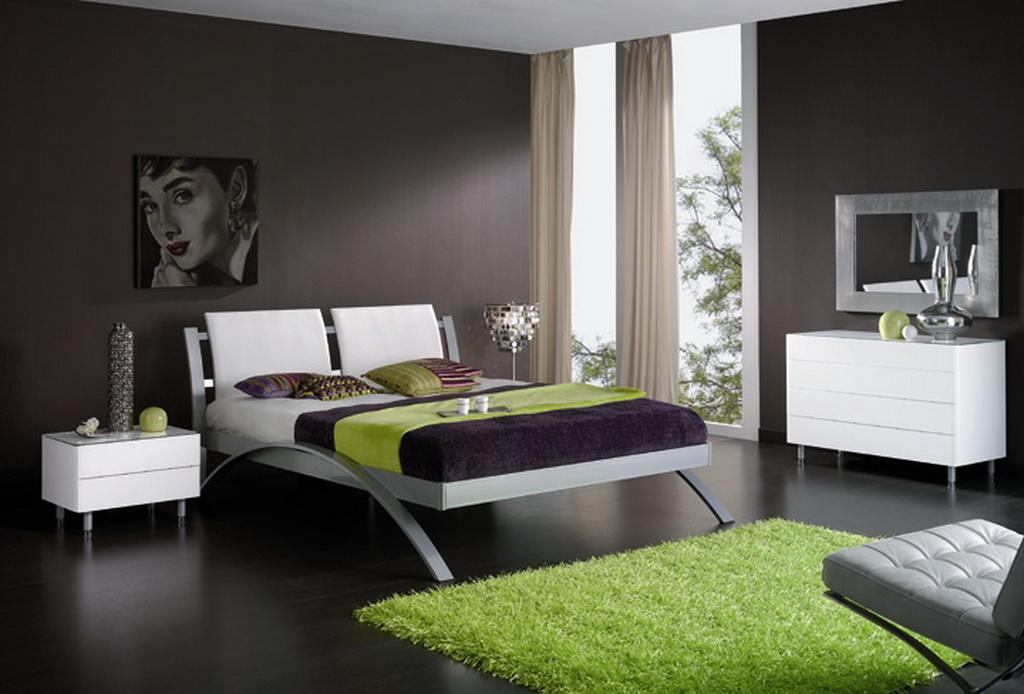 quarto moderno tons verdes