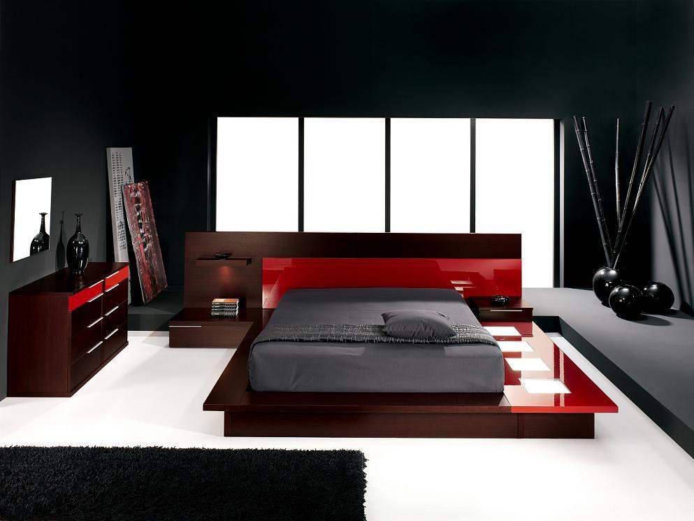 quarto moderno tons vermelhos