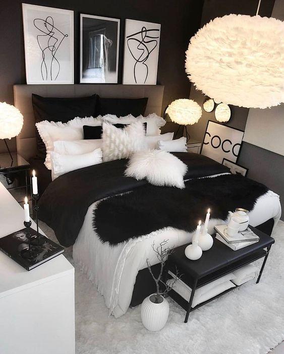 quarto preto branco
