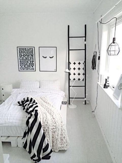 quarto tumblr preto branco moderno