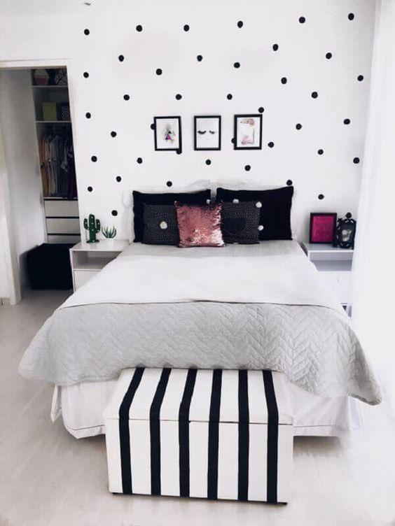 quarto tumblr preto branco