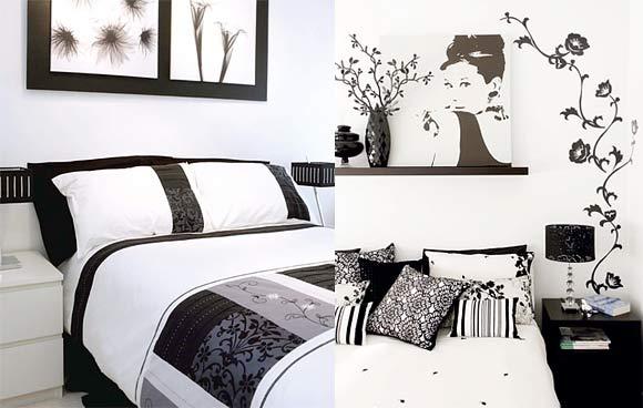 quartos a preto e branco