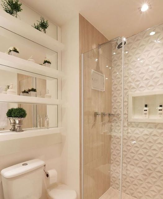 revestimento 3D banheiro branco box