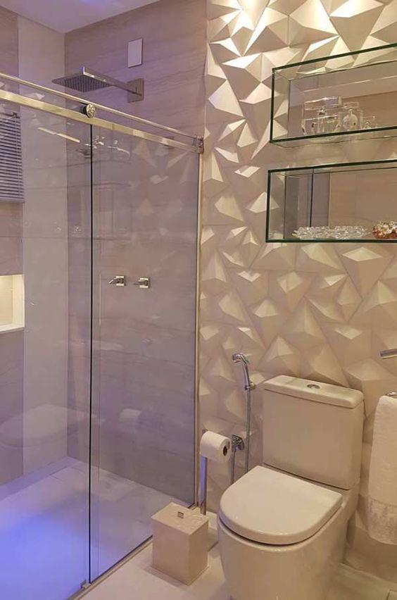 revestimento 3D banheiro branco parede