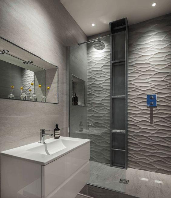 revestimento 3D banheiro cinza simples