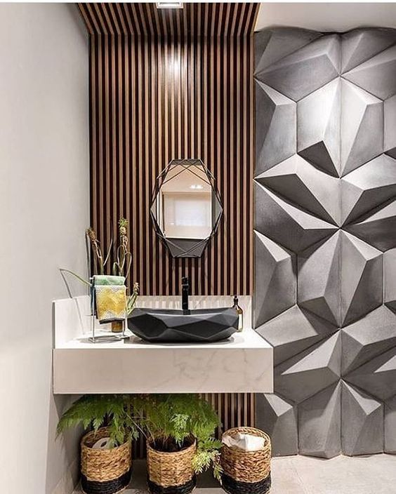 revestimento 3D banheiro cinza textura