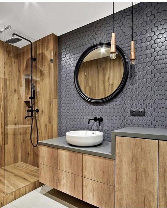 revestimento 3D banheiro cinza