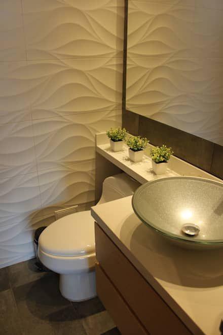 revestimento 3D banheiro pequeno branco