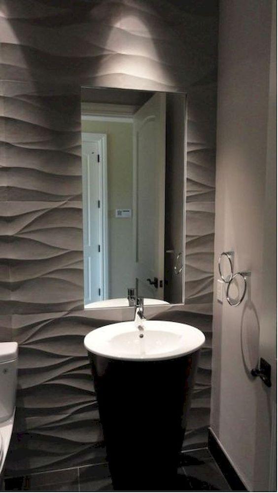 revestimento 3D banheiro pequeno cinza
