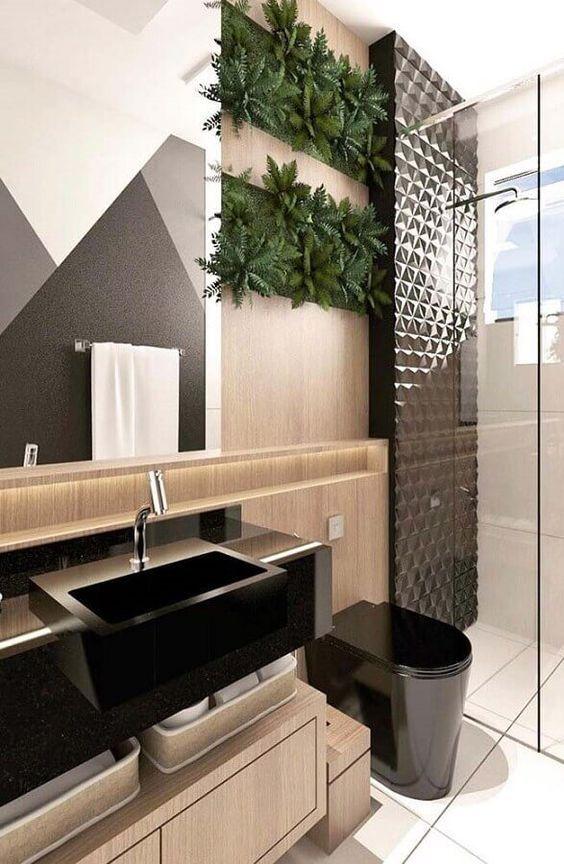 revestimento 3D banheiro preto box