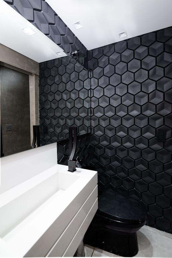 revestimento 3D banheiro preto