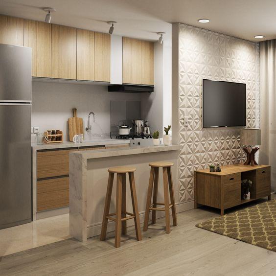 sala com cozinha americana 7