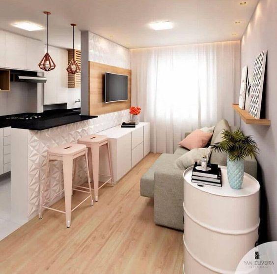 sala com cozinha americana 8