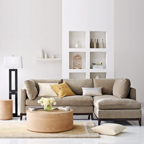 sala com sofa chaise longue