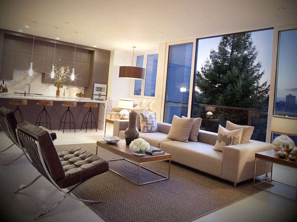 sala de estar moderna com cozinha