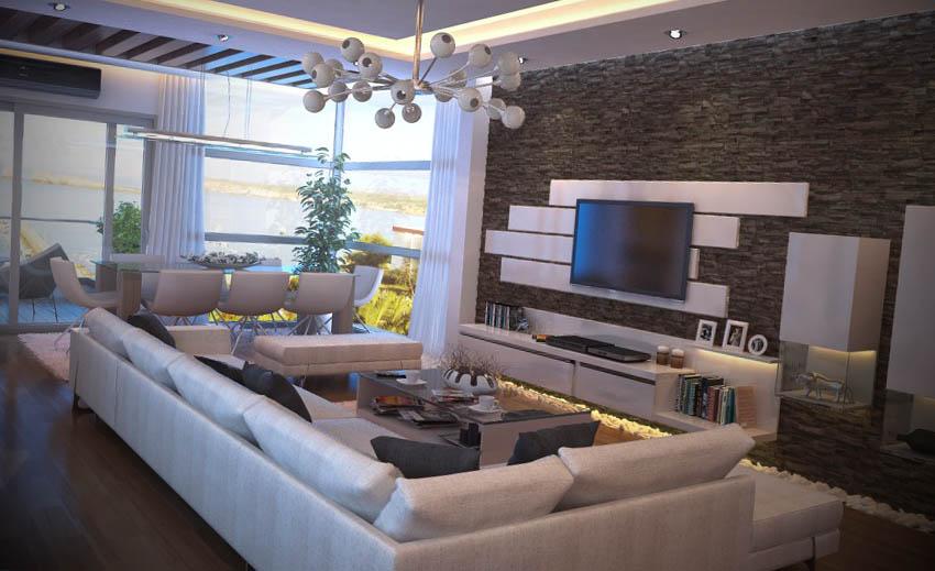 Salas de estar moderna for Salas en l modernas