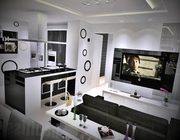 sala decorada com cozinha americana